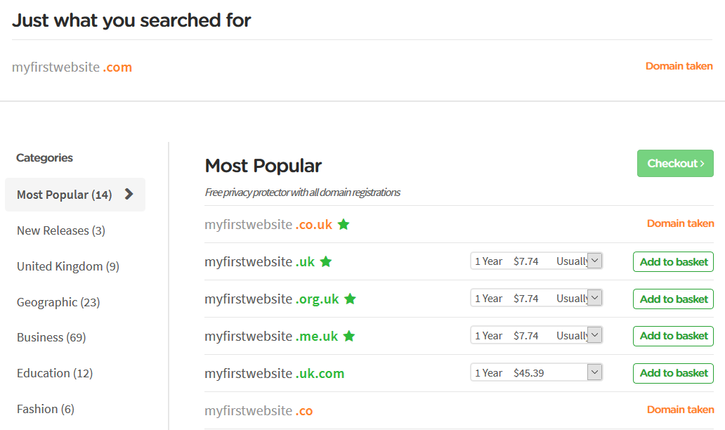 Domain Search Results Example