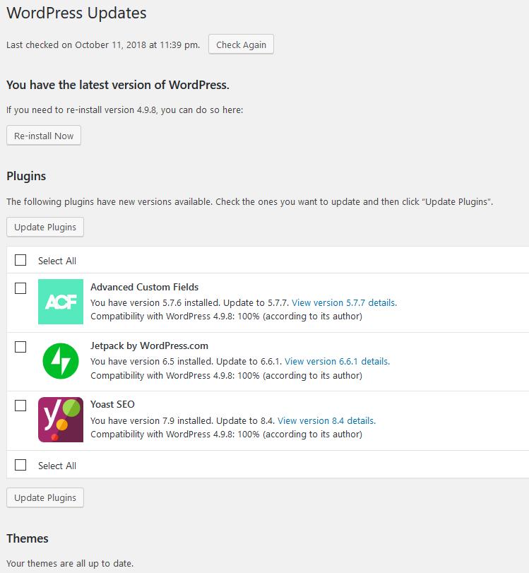 WordPress updates screenshot